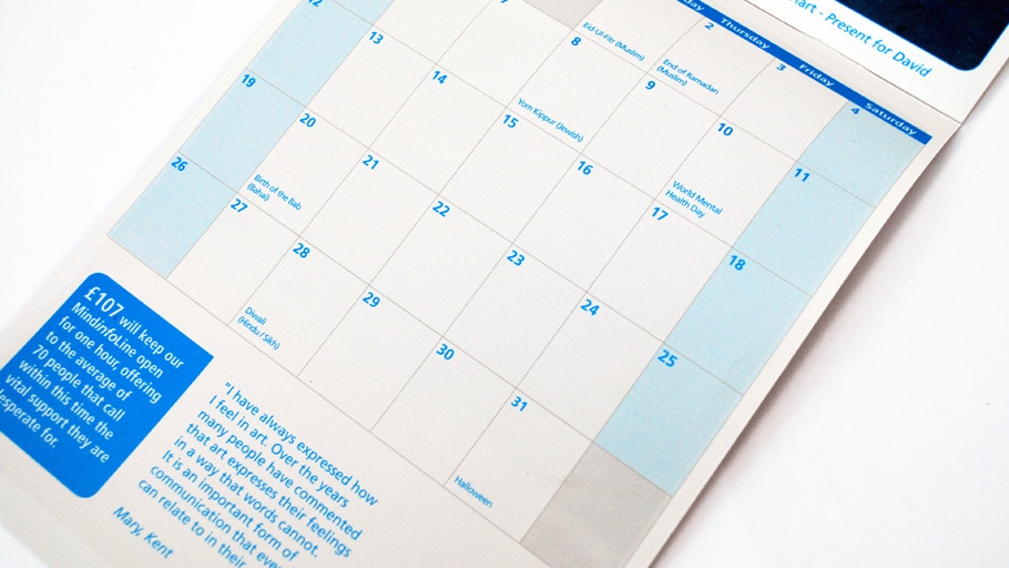 Mind charity calendar mailing