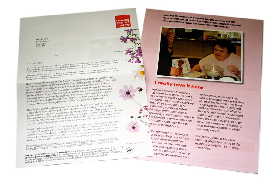 Leonard Cheshire direct mail fundraising appeal 2010